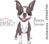 vector smiling dog boston... | Shutterstock .eps vector #393469744