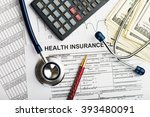 health care costs. stethoscope... | Shutterstock . vector #393480091