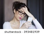 portrait of young sad  annoyed...   Shutterstock . vector #393481939