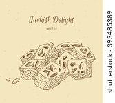 hand drawn dessert turkish... | Shutterstock .eps vector #393485389
