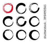 set of hand drawn ink circles.... | Shutterstock .eps vector #393490561