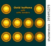vector set of ten golden celtic ... | Shutterstock .eps vector #393491275