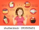 calorie dessert for each piece. ... | Shutterstock .eps vector #393505651