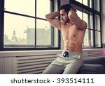attractive shirtless muscular... | Shutterstock . vector #393514111