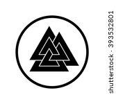 valknut symbol in circle .... | Shutterstock .eps vector #393532801