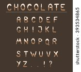 chocolate hand draw alphabet.... | Shutterstock .eps vector #393534865