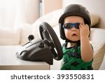 cute little kid boy in a helmet ... | Shutterstock . vector #393550831