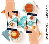 hands making a smartphone photo ... | Shutterstock .eps vector #393561274
