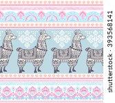 vector cute alpaca llama animal ... | Shutterstock .eps vector #393568141