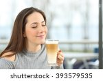 woman enjoying smelling and...   Shutterstock . vector #393579535