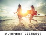 two young women running into... | Shutterstock . vector #393580999