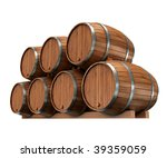 wine barrels isolated on white | Shutterstock . vector #39359059