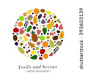 hand drawn fruits and berries... | Shutterstock .eps vector #393603139