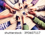 top view hands circle using... | Shutterstock . vector #393607117