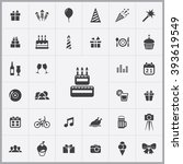 simple birthday icons set....