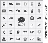 simple blog icons set.... | Shutterstock .eps vector #393619939