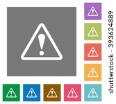 warning flat icon set on color...