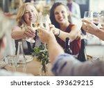 friends party cheers enjoying... | Shutterstock . vector #393629215