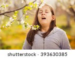 girl having allergy outdoor ... | Shutterstock . vector #393630385