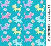 cartoon cats seamless pattern.... | Shutterstock .eps vector #393631765