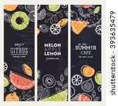 fruit banner collection. summer ... | Shutterstock .eps vector #393635479