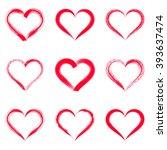 red vector brush strokes hearts ... | Shutterstock .eps vector #393637474