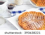 freshly baked waffles on a... | Shutterstock . vector #393638221