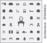 simple furniture icons set.... | Shutterstock .eps vector #393640621