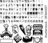 food set of black sketch. part... | Shutterstock .eps vector #39364207