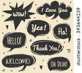 vector set of comic speech... | Shutterstock .eps vector #393644239
