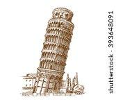 leaning tower in pisa   stock... | Shutterstock .eps vector #393648091