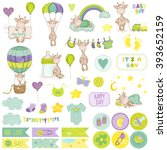baby boy giraffe scrapbook set. ... | Shutterstock .eps vector #393652159