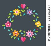 cute floral text frame with... | Shutterstock .eps vector #393661534