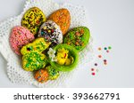 colorful easter cookies with... | Shutterstock . vector #393662791