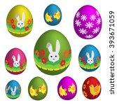 set of colorful easter eggs....   Shutterstock .eps vector #393671059