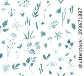 floral seamless pattern... | Shutterstock . vector #393671887