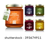 glass jar with with jam ... | Shutterstock .eps vector #393674911