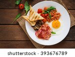 english breakfast   fried egg ... | Shutterstock . vector #393676789