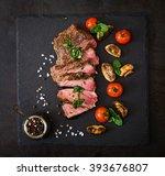 juicy steak medium rare beef... | Shutterstock . vector #393676807