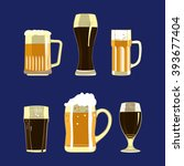 set of beer glasses and mugs... | Shutterstock .eps vector #393677404