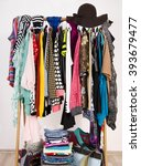 many colorful clothes on... | Shutterstock . vector #393679477