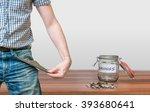 man showing pocket as no money... | Shutterstock . vector #393680641