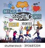assistance support teamwork... | Shutterstock . vector #393685204