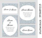 set of silver glitter cards... | Shutterstock .eps vector #393689215