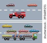 set of colorful transport.... | Shutterstock .eps vector #393689251