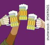 3 beer mug toast | Shutterstock .eps vector #393690631