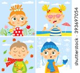 set with babies. four seasons.... | Shutterstock .eps vector #393697054