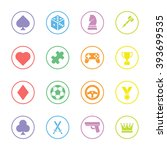 colorful flat game icon set...