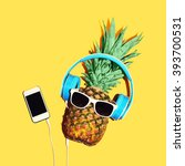 fashion pineapple with... | Shutterstock . vector #393700531