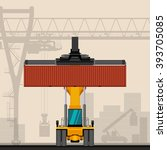 reach stacker with container... | Shutterstock .eps vector #393705085